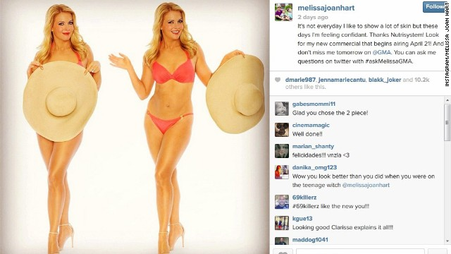 Melissa Joan Hart shared a photo of her 40-pound weight loss on Instagram April 8.