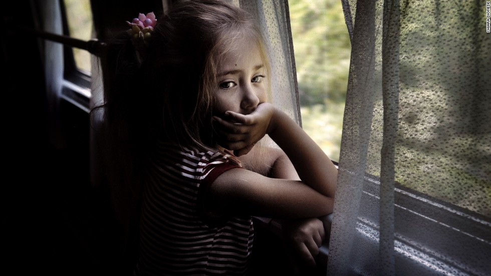 A young girl is on board a train from Moscow to Tiraspol in 2009.