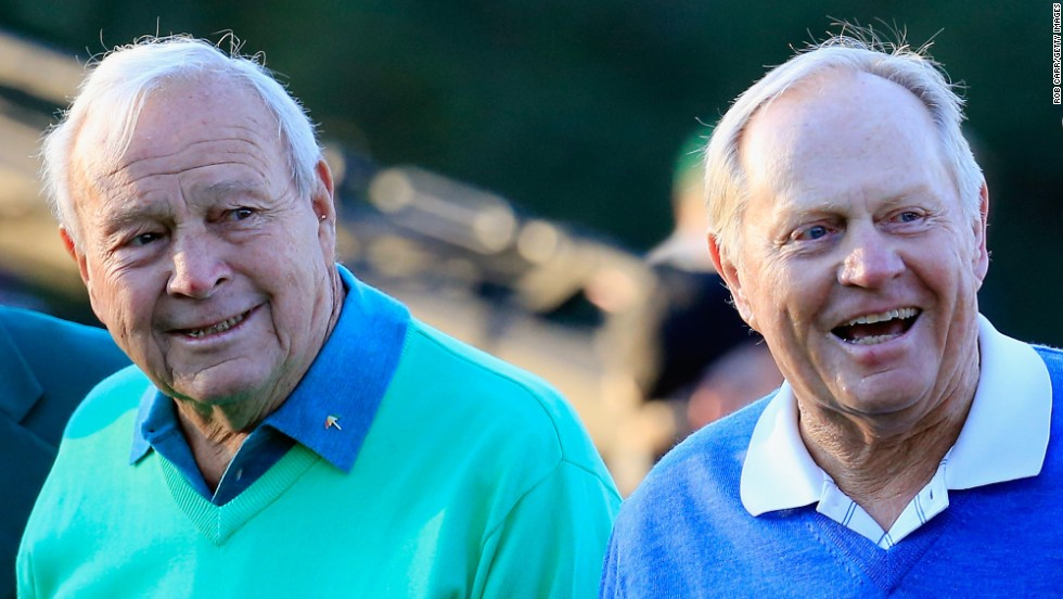 Arnold Palmer, left, and Jack Nicklaus, right, were honorary starters Thursday.