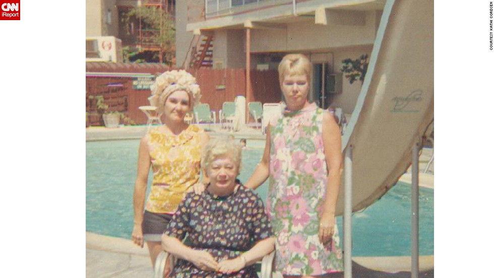 "<a href=""http://ireport.cnn.com/docs/DOC-1118811"">Kathi Cordsen, </a>not pictured, shared this photo of her mom, left, aunt and grandmother on vacation in 1967. ""Mom was wearing hot pants before they were even hot pants,"" Cordsen said. ""She wouldn't let me wear them, though!"""