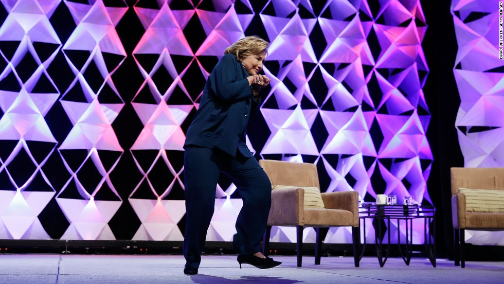 "Hillary Clinton ducks after <a href=""http://politicalticker.blogs.cnn.com/2014/04/10/woman-reportedly-throws-shoe-at-hillary-clinton-in-las-vegas/"">a woman hurls a shoe at her</a> during a speech in Las Vegas on Thursday, April 10. The Secret Service took the woman into custody."