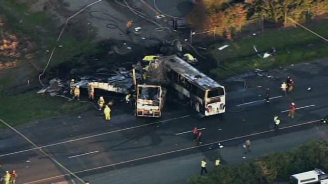 9 killed in California bus-truck crash
