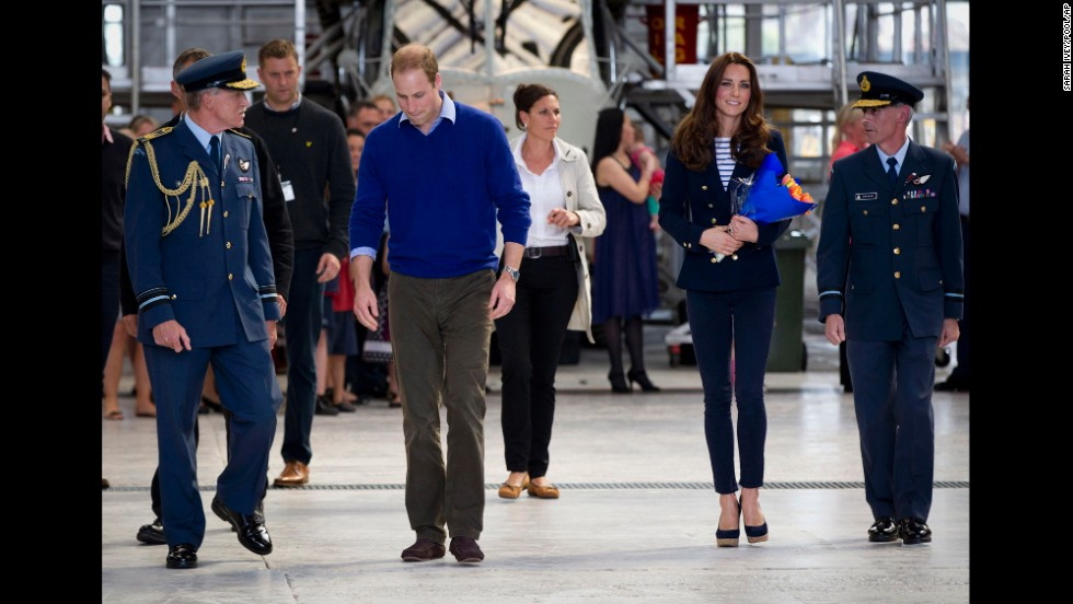 The royal couple arrive at the Royal New Zealand Air Force base of Whenuapai in Auckland to meet with military families on April 11.
