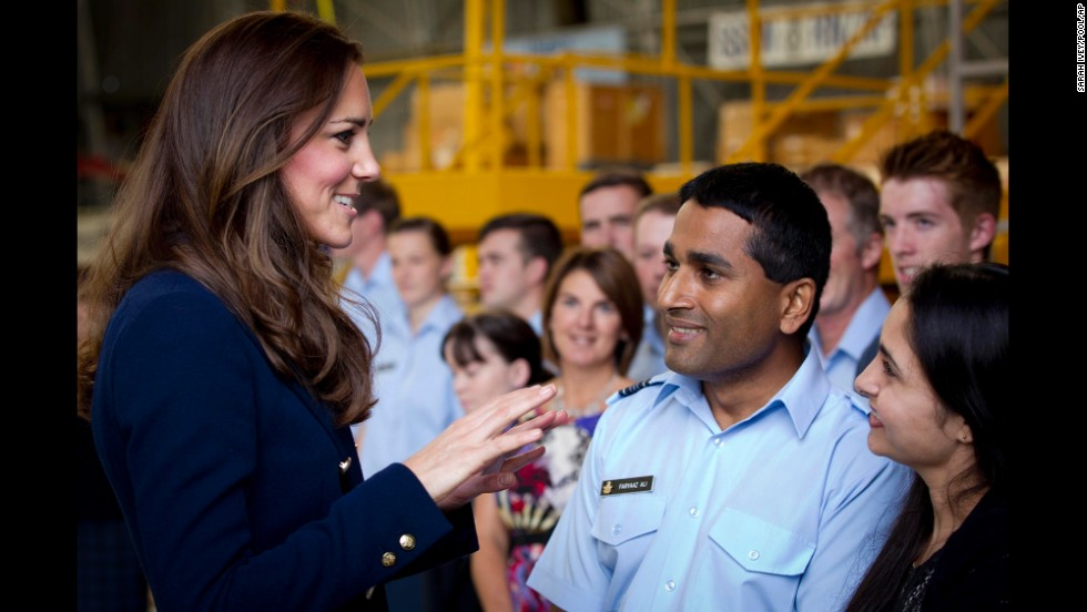Catherine greets military families at the Royal New Zealand Air Force base in Auckland on April 11.