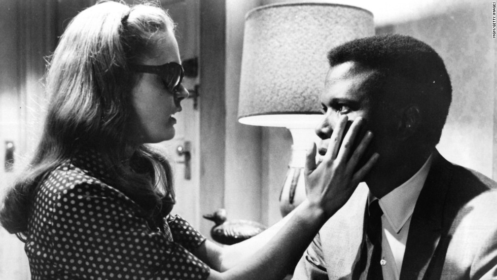 "In 1965's ""A Patch of Blue,"" Elizabeth Hartman plays a blind woman who develops a romance with Poitier's character, an office worker. The interracial romance was tough stuff for the time, and a scene of Hartman and Poitier kissing was cut from the film's showings in the South."