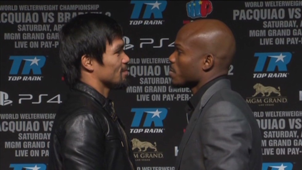 Timothy Bradley (right) will face off against Manny Pacquiao (left) in Las Vegas on Saturday in a keenly anticipated rematch of the duo's 2012 welterweight title bout.