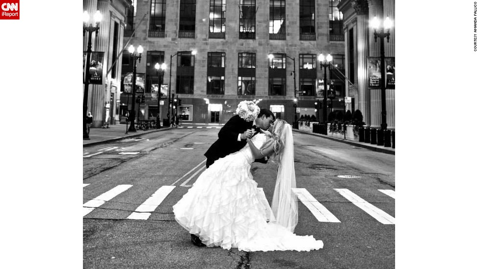 "Amanda Fallico says she married the love of her life in the city she holds in the same regard. The <a href=""http://ireport.cnn.com/docs/DOC-1100282"">happy couple</a> posed on LaSalle Street in front of the Chicago Board of Trade."