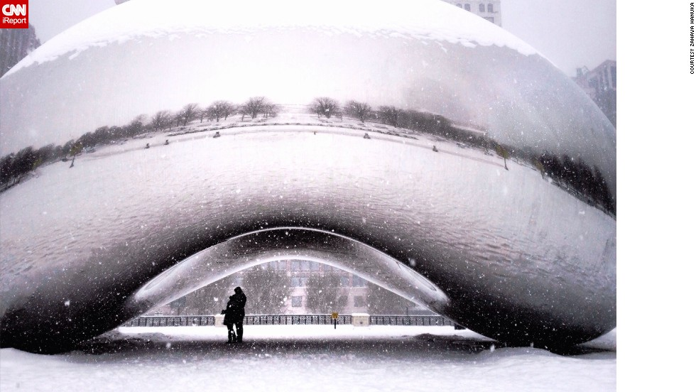 "Zahava Hanuka caught this rare, empty scene at Millennium Park. ""There was the most romantic couple standing <a href=""http://ireport.cnn.com/docs/DOC-1119012"">underneath the Bean</a>, just there for me to shoot a chance of a lifetime shot,"" she said."