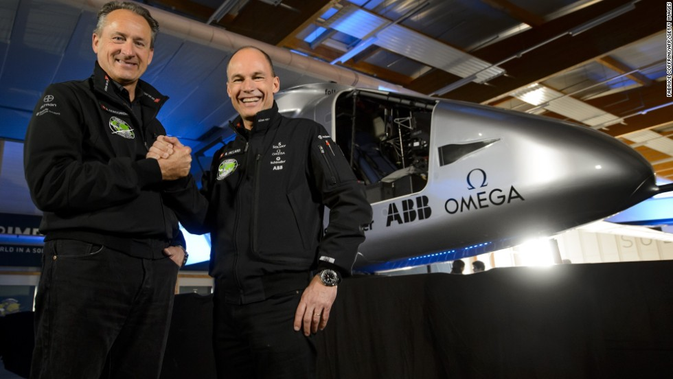 The plane is the brainchild of Swiss pilots Piccard, right, and Borschberg.