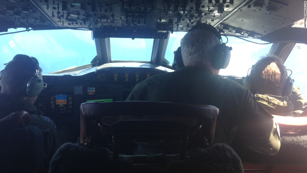 On the flight deck of the Royal New Zealand Air Force P-3 Orion. This flight is searching a 50 by 50 square mile zone, more than 1,000 miles (1609 kilometers) from the west coast of Australia.