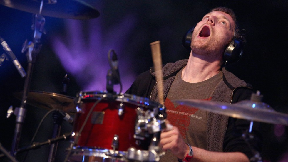 Joe Easley of The Dismemberment Plan plays the drums on April 12.