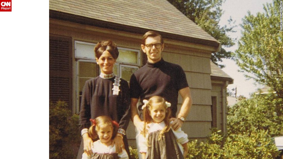 "<a href=""http://ireport.cnn.com/docs/DOC-1119779"">Michelle Jones </a>stands with her sister and parents outside her grandparents' home in Newton, Massachusetts, in this 1968 photograph. ""I loved the outfits my mom wore. Always the latest fashion. Big eyelashes and big makeup,"" she said."