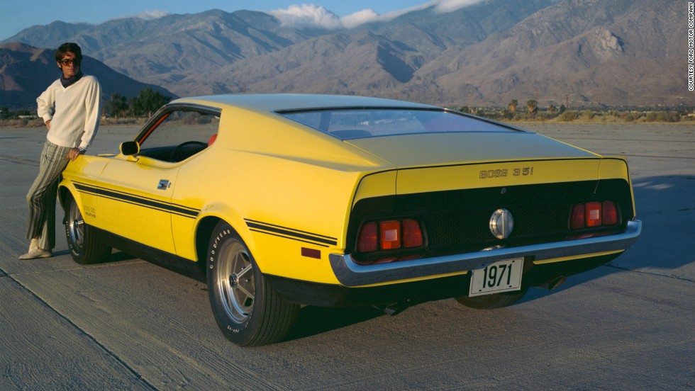 "<strong>1971 Ford Mustang Boss 351 fastback. </strong>The Boss 351 debuted in 1971 with a 351 ""Cleveland"" V-8 and Cobra Jet heads. The 1971 cars were also the biggest Mustangs ever, nearly a foot longer and 700 pounds more than the original."