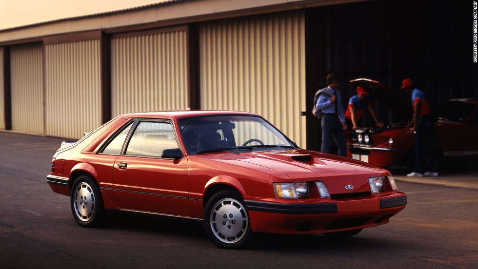 <strong>1985 Ford Mustang SVO. </strong>The SVO series came from the Special Vehicle Operations group that ran Ford's racing programs. It featured an off-center functional hood scoop with a turbo-charged four-cylinder under the hood.