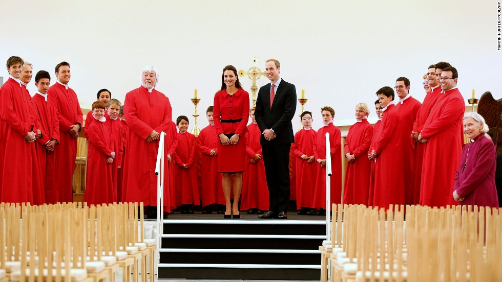 William and Catherine pose with members of the Christchurch Cathedral choir during their visit to the Transitional Cathedral on April 14.