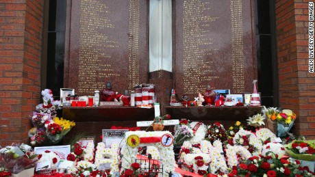 Floral tributes are laid in memory of the victims of the Hillsborough disaster at Anfield Stadium, Liverpool.