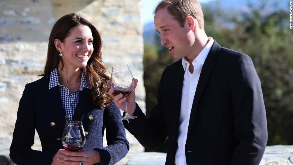 The royal couple samples wine during a visit to Amisfield Winery in Queenstown on April 13.