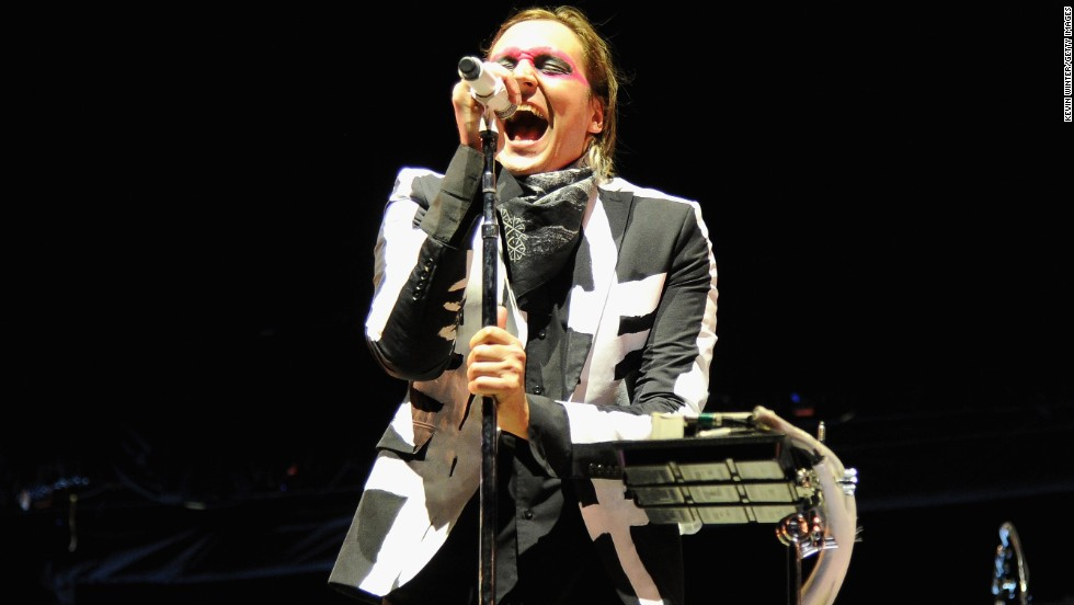 Win Butler of Arcade Fire performs on stage on April 13.