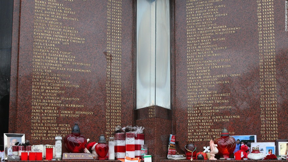 Floral tributes are laid in memory of the victims on the 25th anniversary of Hillsborough, prior to a Premier League match between Liverpool and Manchester City at Anfield on April 13, 2014.