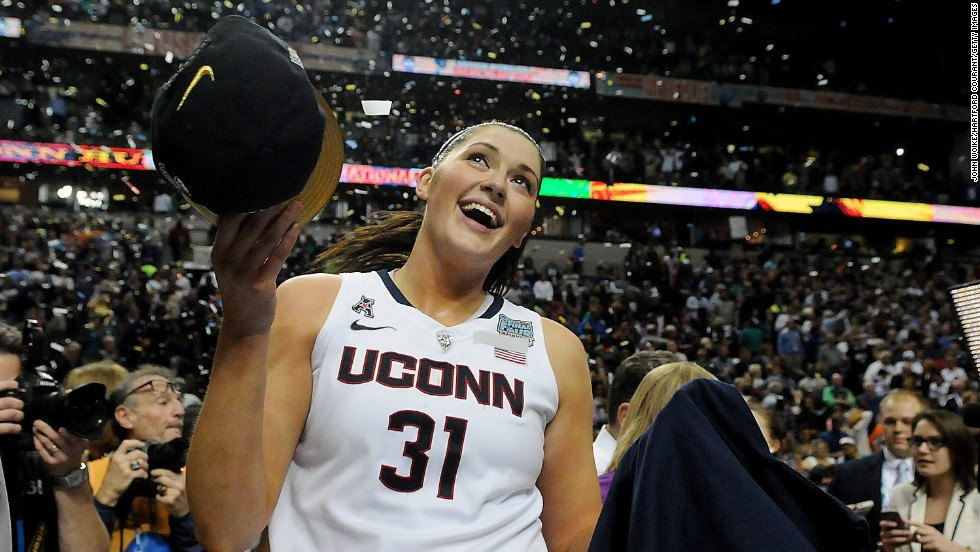 Connecticut's Stefanie Dolson celebrates Tuesday, April 8, after she and her team defeated Notre Dame in the final of the NCAA Women's Basketball Tournament. It was the second-straight NCAA title for UConn, which finished its season with a 40-0 record.