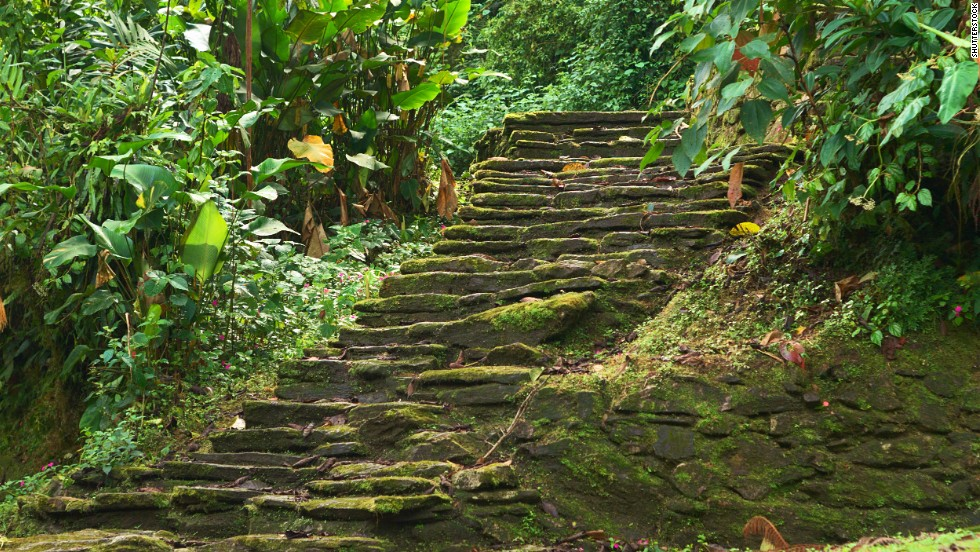 "These old stone stairs are part of the <a href=""http://globalheritagefund.org/what_we_do/overview/current_projects/ciudad_perdida_colombia"" target=""_blank"">Ciudad Perdida</a> (the Lost City) in Colombia's Sierra Nevada de Santa Marta, a UNESCO-designated biosphere reserve. The Tayrona Indians built some 200 structures throughout the Lost City between about the third and 17th centuries. The structures were discovered in the 1970s."