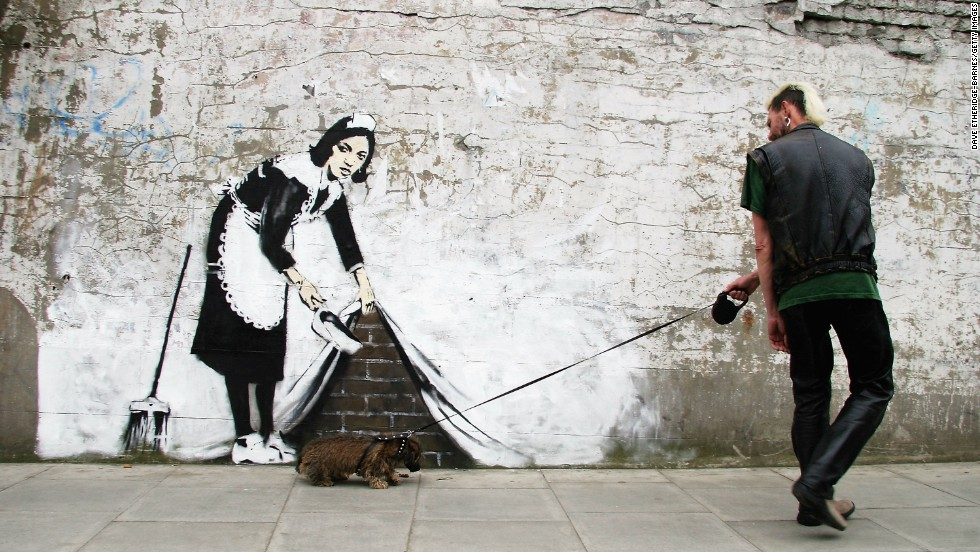 The secretive street artist built his reputation on playful images that began appearing on the walls of London and Bristol in the early 1990s. This image is from 2006.