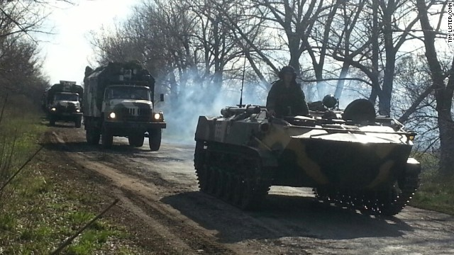 Ukraine military convoy moving southeast