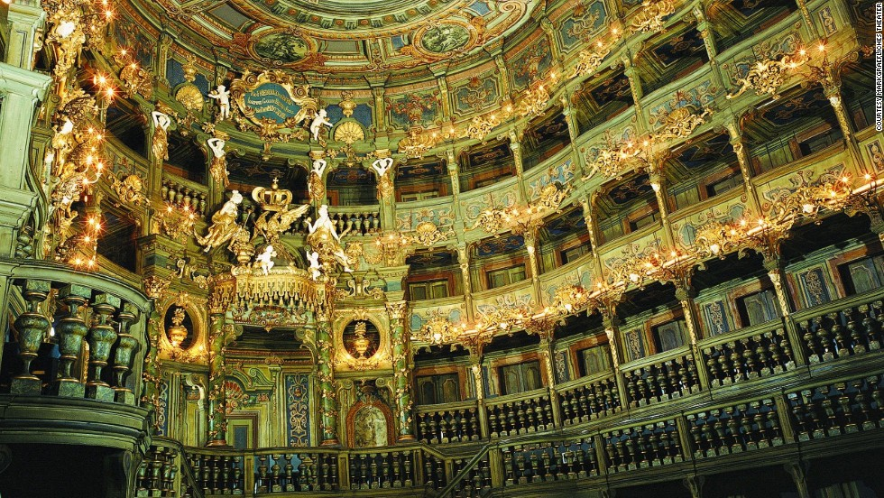 The UNESCO-listed opera house in Bayreuth, Germany, retains much original material, including vast expanses of painted canvas and wood and twin wooden staircases.