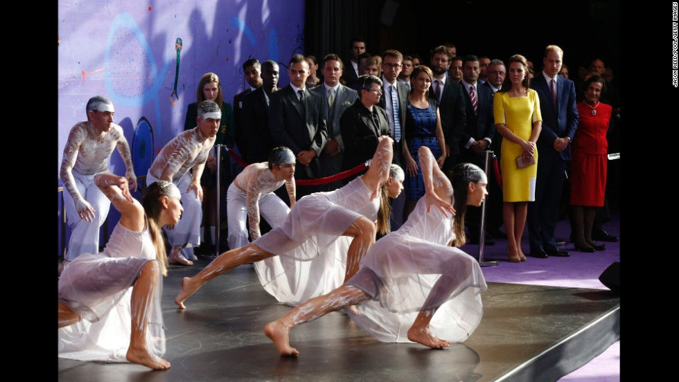 William and Catherine watch an Aboriginal welcome performance at the Sydney Opera House on April 16.
