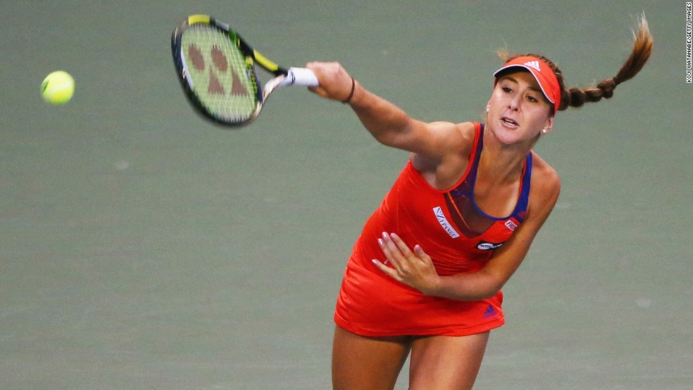 """Aged 16, Bencic was reported by <a href=""""http://www.forbes.com/sites/miguelmorales/2014/03/05/16-year-old-tennis-pro-belinda-bencic-has-11-sponsors-but-shes-no-millionaire/"""" target=""""_blank"""">Forbes</a> to have 11 sponsors."""