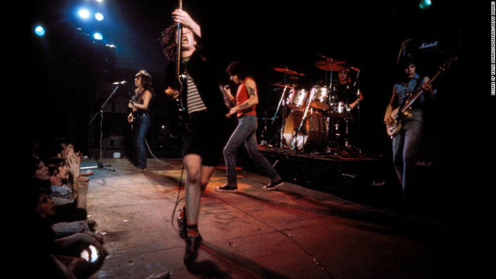 AC/DC performs at the Kursaal Ballroom in England in 1977.