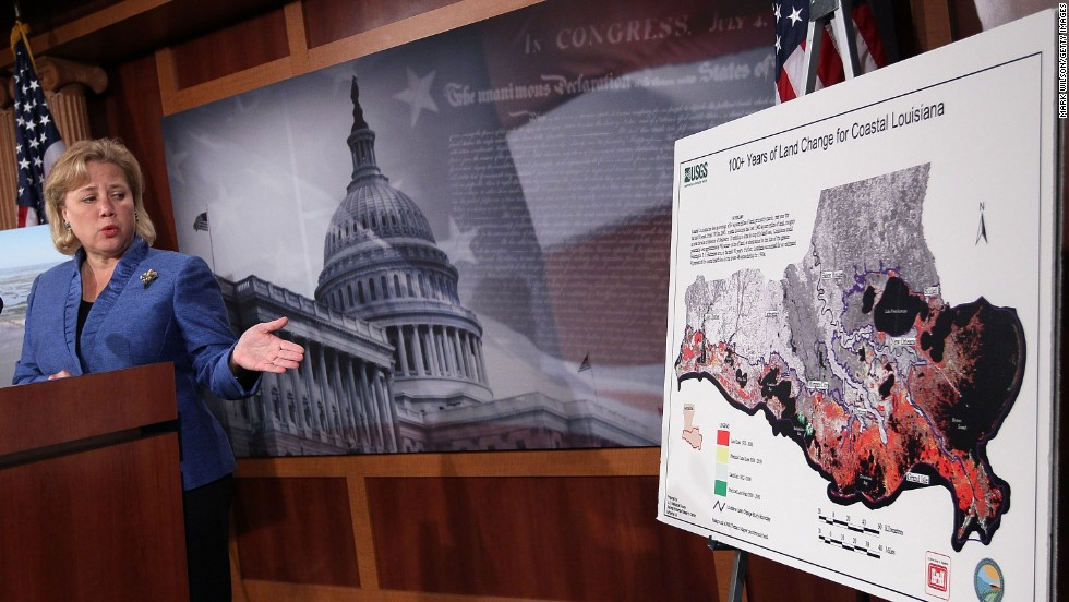 Landrieu's political support includes her state's business community. As Senate Small Business Committee chairwoman, Landrieu showed charts of Louisiana during a news conference at the U.S. Capitol on May 20, 2010 in Washington.