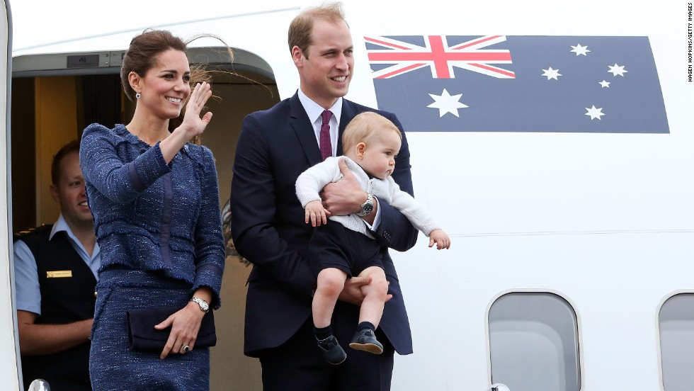 The royal family waves to a crowd before boarding a plance in Wellington, New Zealand, in April 2014. They went on a three-week tour of Australia and New Zealand.