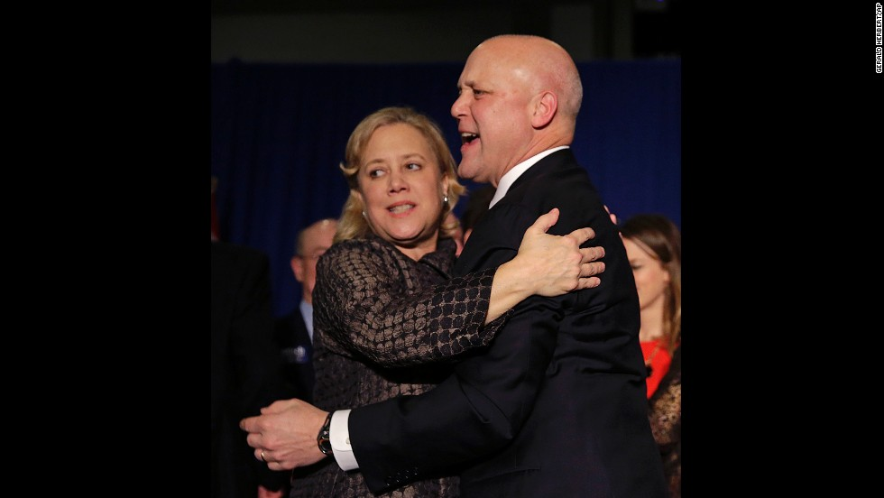 Incumbent New Orleans Mayor Mitch Landrieu hugged his sister, Sen. Mary Landrieu, after winning re-election in New Orleans February 1, 2014.