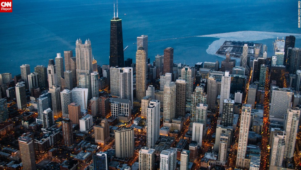 "Photographer Alina Tsvor took this <a href=""http://ireport.cnn.com/docs/DOC-1120451"">aerial photograph</a> of Chicago during a helicopter tour to try to capture the city in a new way. Click through to see other images of Chicago in all its glory."
