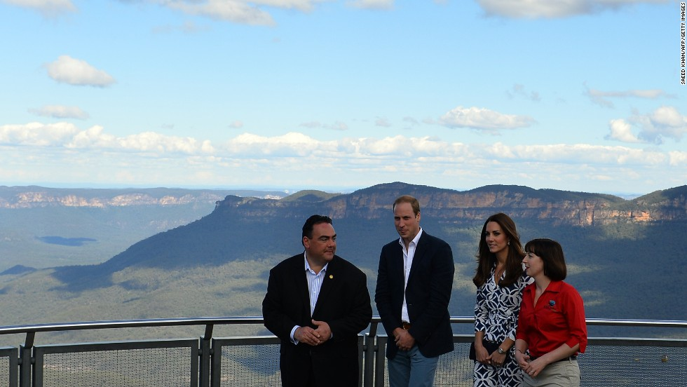 The royal couple tour the Three Sisters rock formation near Katoomba flanked by Randall Walker, chief executive officer of Blue Mountains Lithgow and Oberon Tourism, left, and Anthea Hammon, joint managing director of Scenic World.