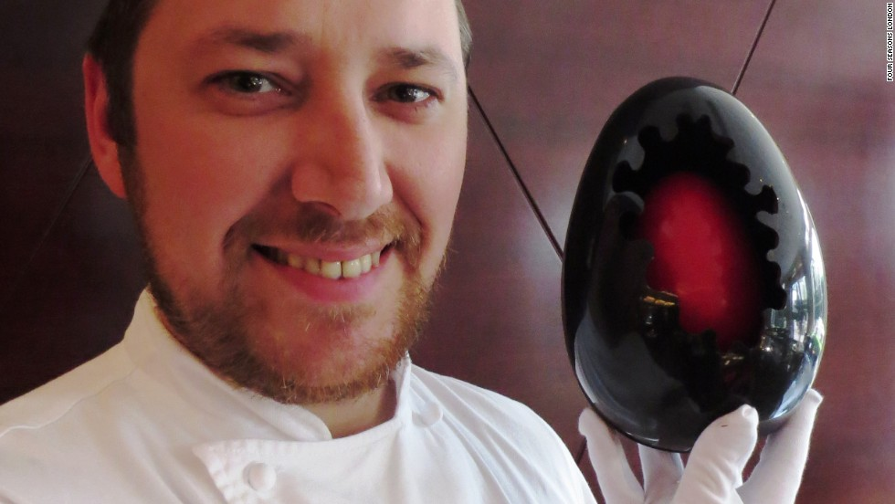 "Loic Carbonnet, the head pastry chef at the <a href=""http://press.fourseasons.com/london/hotel-news/2014/four-seasons-hotel-london-at-park-lane-creates-easter-eggs-with-a-twist/"" target=""_blank"">Four Seasons Hotel London at Park Lane</a>, spent 25 days making 50 haute eggs. Each egg, which costs $125, is actually an egg (7cm) inside an egg (13cm) inside an egg (22cm). Carbonnet spent seven hours crafting the first egg. He had to be careful to watch the temperature. The process involves heating chocolate to 50 degrees Celsius, then cooling it to 28 degrees, and then raising the temperature to 31 degrees to shape it."