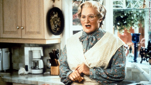 Robin Williams stars as Mrs. Doubtfire in the 1993 movie of the same name.