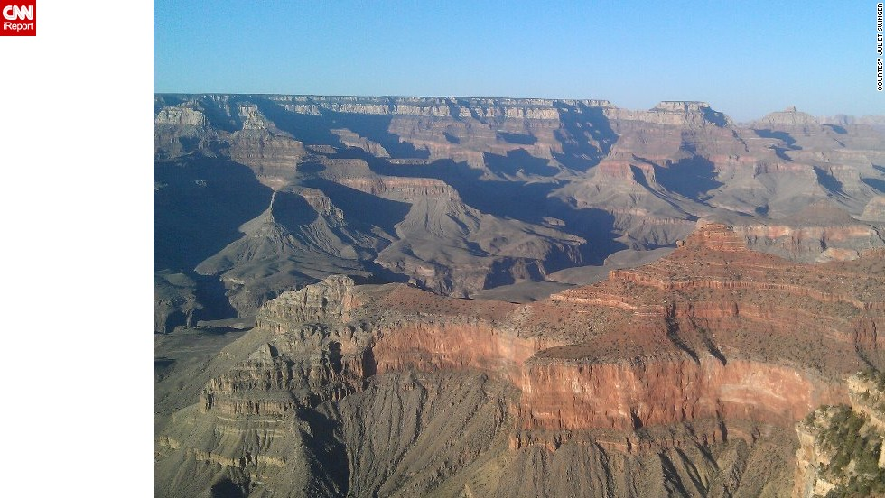 "The <a href=""http://www.nationalparks.org/explore-parks/grand-canyon-national-park"" target=""_blank"">Grand Canyon</a> in Arizona was carved by the Colorado River and is 277 miles long. The western canyon is believed to be as much as 70 million years old. ""It surrounded and consumed me, took breath away and left me at a loss for words,"" <a href=""http://ireport.cnn.com/docs/DOC-806135"">Juliet Swinger</a> said."