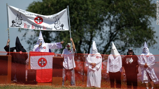 A member of the Confederate White Knights speaks during a rally at the Antietam National Battlefield September 7, 2013 near Sharpsburg, Maryland.