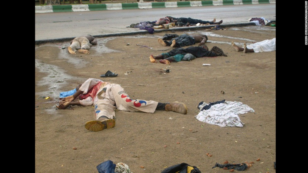 "Bodies lie in the streets in Maiduguri, Nigeria, after religious clashes on July 31, 2009. Boko Haram exploded onto the national scene in 2009 when <a href=""http://www.cnn.com/2012/01/02/world/africa/boko-haram-nigeria/index.html"">700 people were killed </a>in widespread clashes across the north between the group and the Nigerian military."