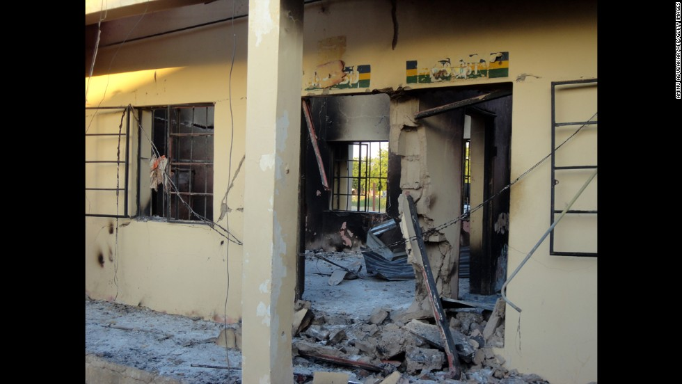 "A photo taken on November 6, 2011, shows state police headquarters burned by a series of attacks that targeted police stations, mosques and churches in Damaturu, Nigeria, on November 4, 2011. Attackers left scores injured -- <a href=""http://www.cnn.com/2011/11/05/world/africa/nigeria-attacks/index.html"">probably more than 100</a> -- in a three-hour rampage, and 63 people died."