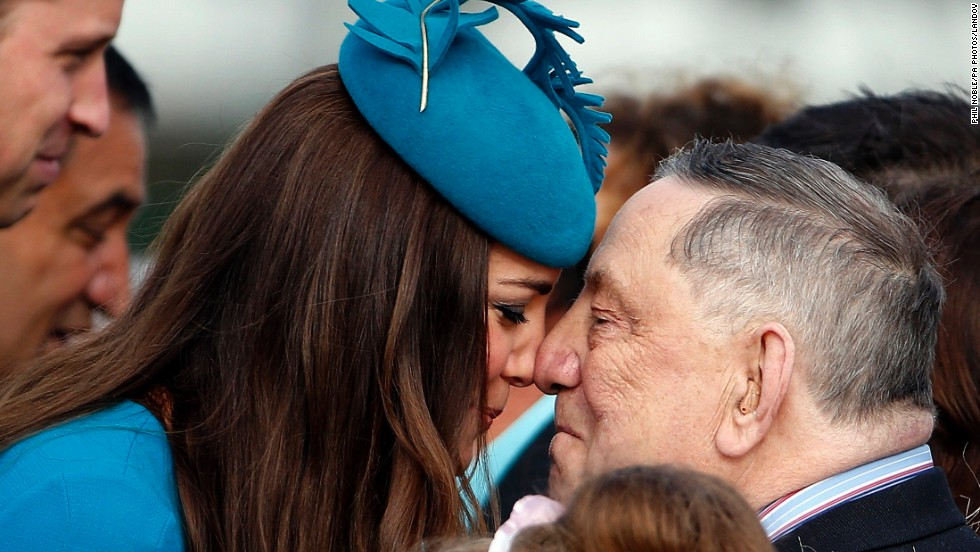 "Catherine, Duchess of Cambridge, receives a ""hongi,"" a traditional Maori greeting, from David Ellison during a welcoming ceremony Sunday, April 13, in Dunedin, New Zealand. Catherine and Prince William, Duke of Cambridge, are on a <a href=""http://www.cnn.com/2014/04/06/world/gallery/royal-tour-new-zealand-australia/index.html"">three-week tour of New Zealand and Australia</a> with their son, 8-month-old Prince George."