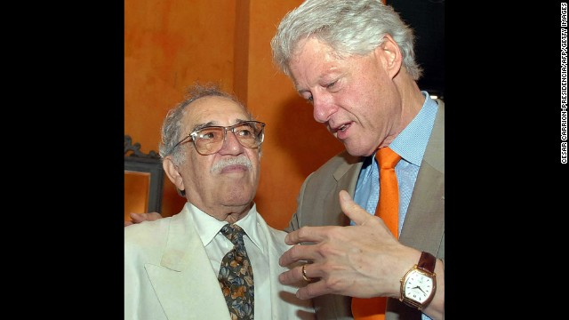 "U.S. President Bill Clinton speaks with García Márquez at the IV International Congress of the Spanish Language in Cartagena, Colombia, in 2007. García Márquez was regularly limited or denied visas by the United States until President Clinton, a fan of ""Solitude,"" revoked the ban."