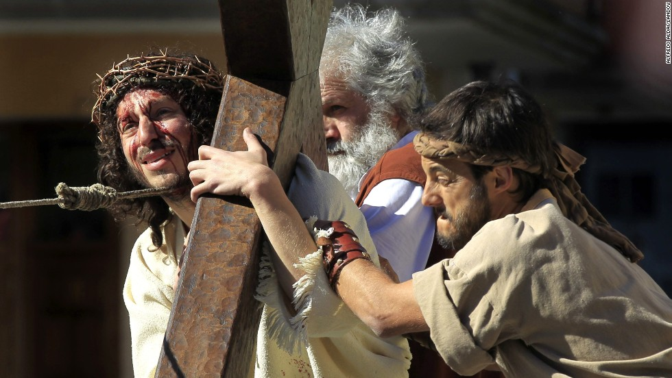 A man participates in a re-enactment of the carrying of the cross April 18 in Balmaseda, Spain.