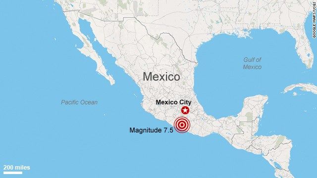 Map: Earthquake in Mexico