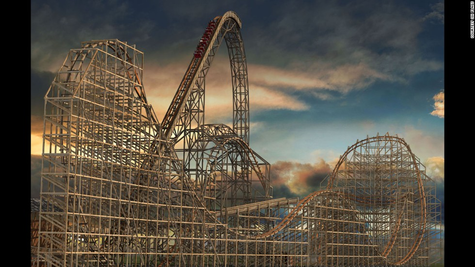 Goliath at Six Flags Great America in Gurnee, Illinois, will be the world's fastest wooden coaster with the tallest and steepest drop. The coaster, seen here in a rendering, is set to open in May.
