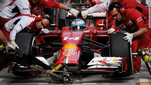 Caption:SHANGHAI, CHINA - APRIL 18: Fernando Alonso of Spain and Ferrari drives during practice ahead of the Chinese Formula One Grand Prix at the Shanghai International Circuit on April 18, 2014 in Shanghai, China.