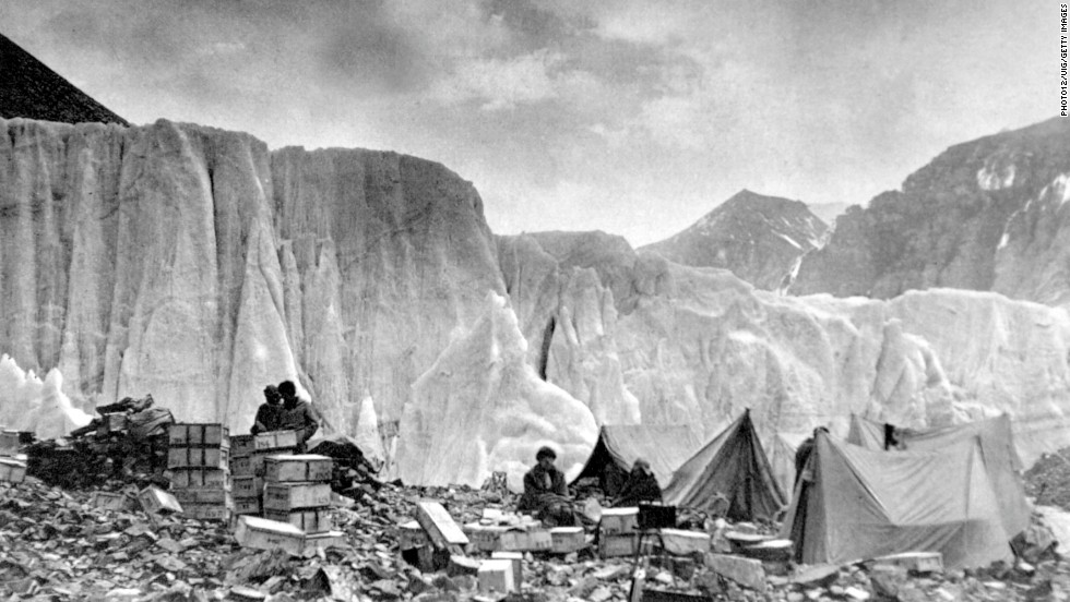 Explorers are seen in 1922 at Camp II on the East Rongbuk Glacier. That same year, seven Sherpas were killed when they were caught in an avalanche during an expedition led by George Mallory.