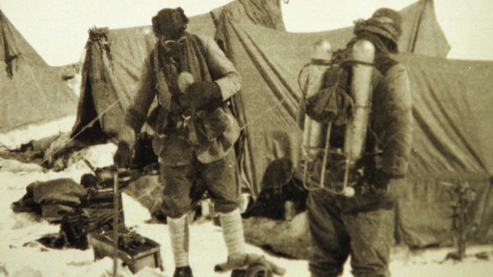 Mallory returns to Everest In June 1924. He's seen here with his climbing partner Andrew Irvine at the base camp. This is the last photo of the the two before they disappeared on the mountain. Mallory's body was found 75 years later, showing signs of a fatal fall.